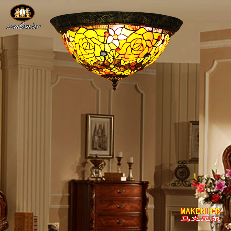 Makenier Vintage Tiffany Style Stained Glass Rose Flower Flush Mount Ceiling Lamp, 16 Inches LampshadeMakenier Vintage Tiffany Style Stained Glass Rose Flower Flush Mount Ceiling Lamp, 16 Inches Lampshade