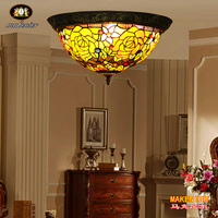 Makenier Vintage Tiffany Style Stained Glass Rose Flower Flush Mount Ceiling Lamp 16 Inches Lampshade