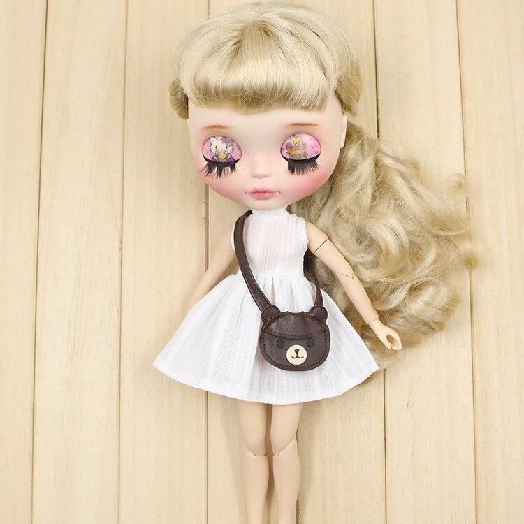 Neo Blythe Doll White Dress with Bear Bag 6