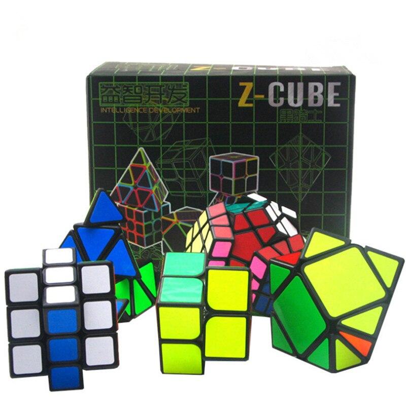 ZCube 5 pièces Noir En Fiber De Carbone Autocollant Cube de Vitesse Professionnel 2x2x2 3x3x3 Megaminx Pyraminx Vitesse Magico Cubo Puzzle Oblique Cube