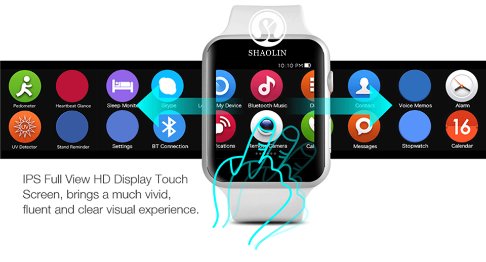 SHAOLIN Bluetooth Smart Watch Heart Rate Monitor Smartwatch Wearable Devices for iPhone IOS and Android Smartphones apple watch-3