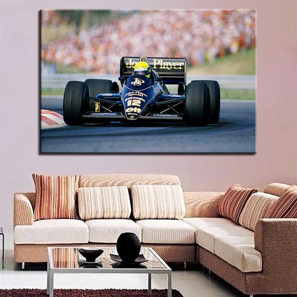 يطبع قماش hd ملصق ل غرفة المعيشة جدار الفن 1 قطعة/قطع f1 سباقات السيارات اللوحة كول الرياضة صور ديكور المنزل الإطار