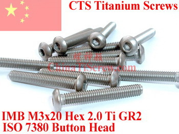 Titanium screw M3X20 ISO 7380 Button Head  Hex 2.0 Driver Ti GR2 Polished 50 pcs 50pcs lot iso7380 m3 x 6 pure titanium button head hex socket screw