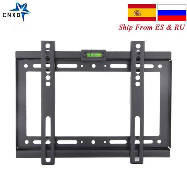 Тонкий светодиодный настенный кронштейн для телевизора с ЖК экраном, 14 ~ 32 дюйма, Max VESA 200*200 мм, сверхпрочный вес 88 фунтов