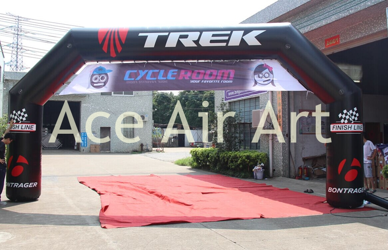 Black PVC advertising inflatable arch with Removable customized banner for event in Puerto Rico Same both front and back