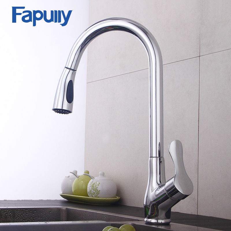 Fapully Kitchen Faucet Pull Out Deck Mounted Mixer Tap Chrome Polished Single Handle Hole Flexible Kitchen Tap 544-33C polished chrome deck mounted bathroom kitchen faucet tap single handle with brass soap dispenser