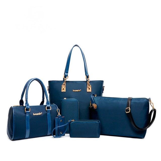 2016 New women fashion composite handbag six pieces nylon bag set female big bags 6 pcs women handbags of famous brands SD10