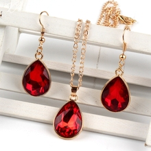 1 set Rose Gold Water drop Pendant Necklace & earrings Fashion Jewelry red