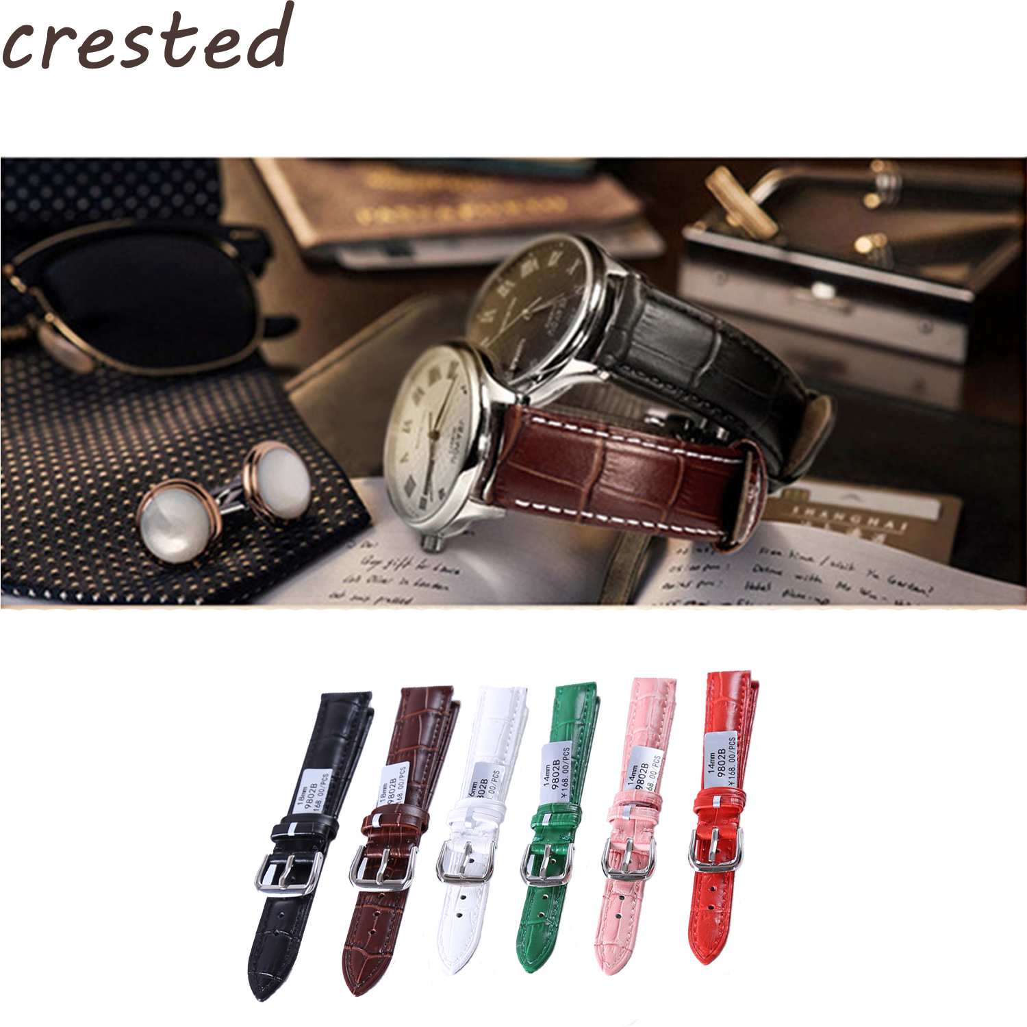 CRESTED genuine leather strap Seven colors watch bracelet belt new watch strap band 18mm 20mm 22mm watch accessories wristband цена