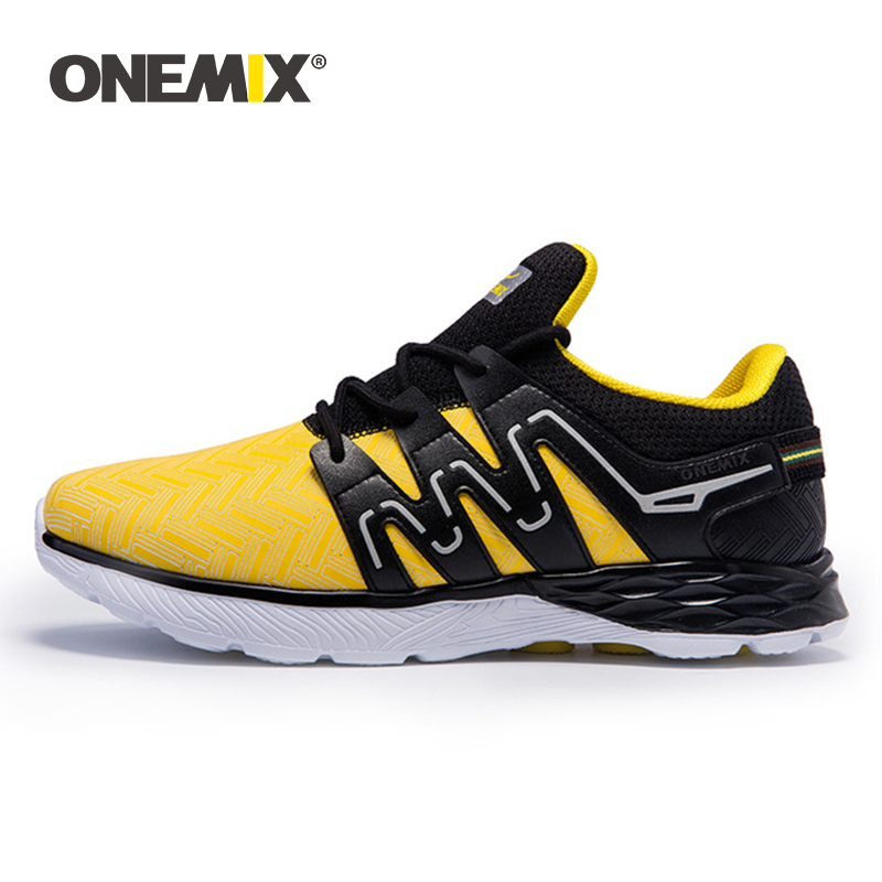 ONEMIX Men's Running Shoes Leather Shoes Reflective Male Athletic Shoes Outdoor Sports Lightweight Sneakers For Jogging Trekking-in Running Shoes from Sports & Entertainment    1
