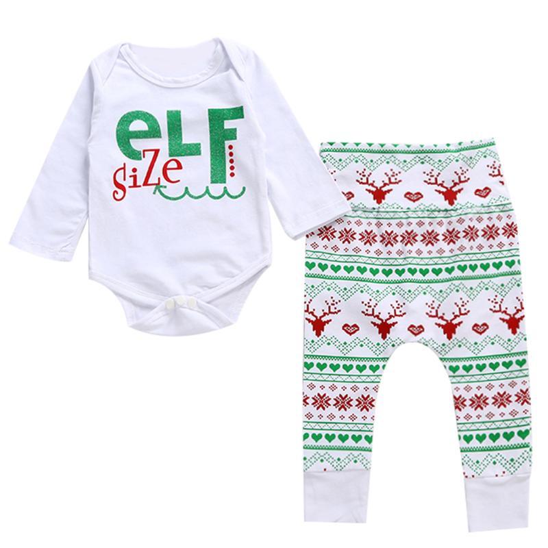 2pcs/set Christmas Baby Girls Boys Clothing Long Sleeve Letter Print Romper + Pants Cute Cotton Baby Clothes Set