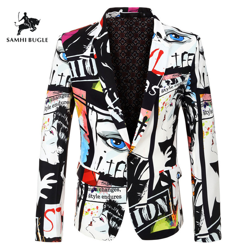 Brand Clothing 2019 New Tide Mens Fashion Print Blazer Design Plus Size Hip Hot Casual Male Slim Fit Suit Jacket Singer Costume