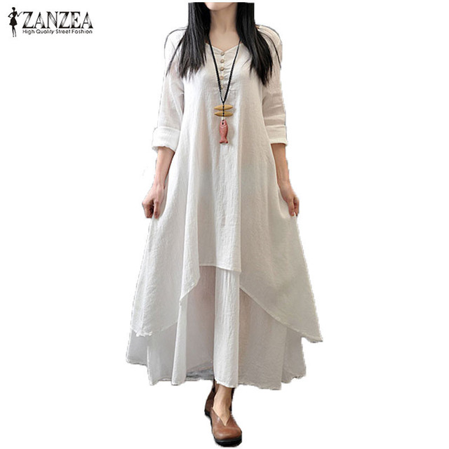 Zanzea Lente Herfst 2017 Mode Vrouwen Casual Losse Lange Mouw v-hals Jurk Boho Solid Lange Maxi Jurk Vestidos Plus Size 5XL