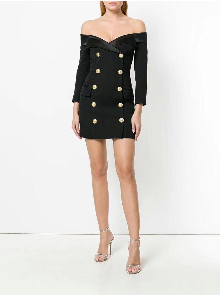 Slash cou robe hors de l'épaule reine Style femmes élégantes mode boîte de nuit fête noir blanc robes Sexy