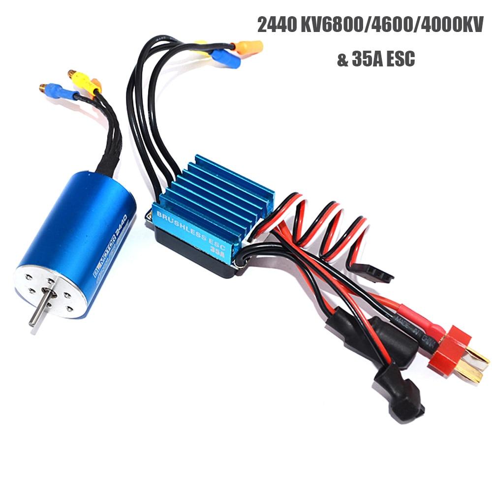 Motor sin escobillas para coche de control remoto, dispositivo de control remoto 2440 6800KV / 4600KV / 4000KV sin sensor con Motor sin escobillas 35A ESC para coche de control remoto 1/14 1/16