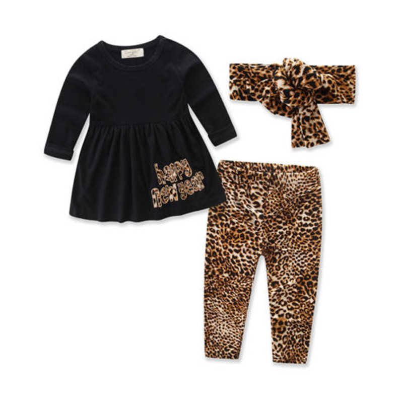 0 to 3T Newborn KIds Baby Girls Clothes New Style Long Sleeve T-shirt Tops+Leopard Pants+Headband 3pcs Outfits Baby Clothing Set