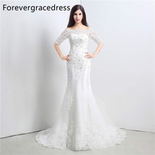 Forevergracedress Vintage Cheap Wedding Dress Mermaid Off The Shoulder Applique Lace Long Bridal Gown Plus Size Custom Made