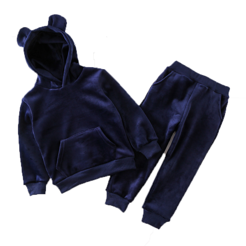 2018 New Winter Thickening Baby Clothes Set Hooded Children Coat Warm Plush Cartoon Bear Girls Boys Clohtes Pants 2pcs Suit ...
