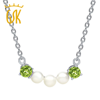 0 60 Ct Round Green Peridot Cultured Freshwater Pearls 925 Silver Necklace