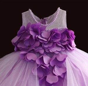 Image 4 - Nowa koronkowa sukienka dla dziewczynek płatek kwiatu szyfonowa sukienka dla księżniczki 1 rok dla dzieci dziewczyny suknie urodzinowe boże narodzenie Vestido 3 M 4 T