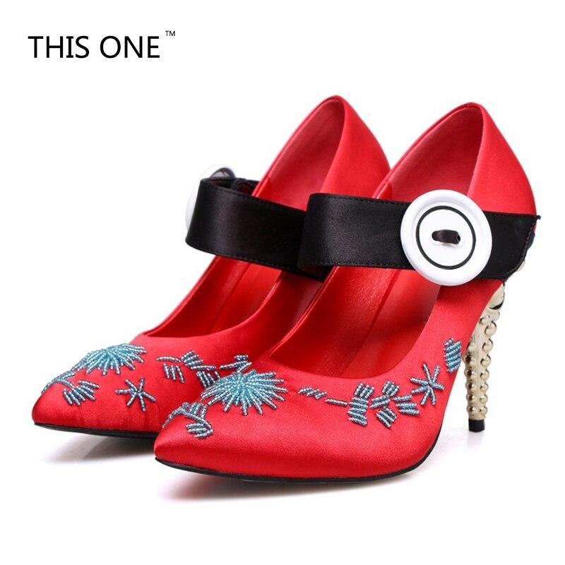 Chaussures Partie Pointu rose Talons Perle Chaîne Noir pu Mary Haute Jane Soie Bout Vintage Bouton Étrange rouge Gros Style Dames Femmes Ciel vert Pompes WDHeEY29I