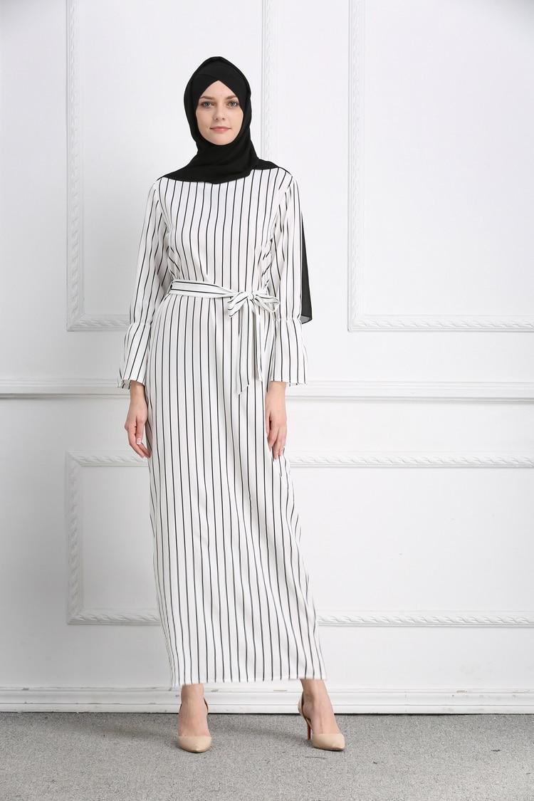Muslimischen Streifen Maxi Kleid Trompete Ärmel Abaya Langen Rock ...