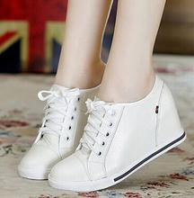 The new 2016 sell like hot cakes! Black + white women fashion casual shoes real leather shoes Size32-40 hidden wedge shoe lace