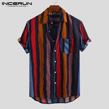 Summer INCERUN Mens Shirt Striped Short Sleeve Streetwear Vintage Tops Breathable Casual Hawaiian Shirts Camisa Masculina S-5XL(China)