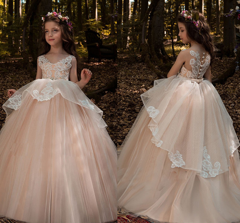 New Blush Pink Flower Girl Dresses Sheer Back Ball Gown Lace Appliques Sleeveless Girls First Communion Gowns Vestidos Longo