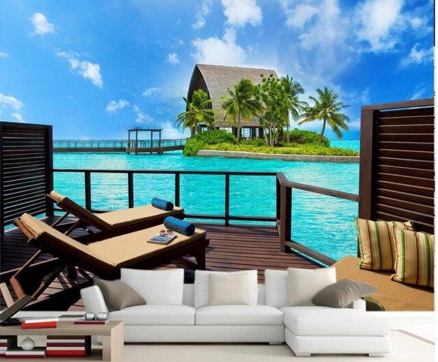 Moderne Und Einfache Beobachtung Deck Open Air Terrasse Mit Meerblick TV  Hintergrund Wallpaper 3d