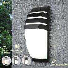 Oreab 10w IP65 wodoodporna lampa zewnętrzna kinkiet lampa z czujnikiem ruchu 3 jasne kolory zmienne zewnętrzne światła ogrodowe 220V