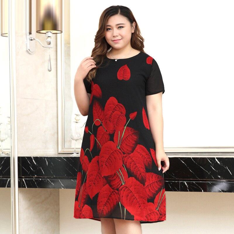 Plus Size 10XL 8XL 6XL 4XL Vintage Office Lady Dresses Summer Fashion Leaf Print Elegant OL