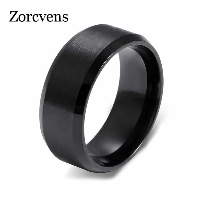 ZORCVENS High Quality 3 Colors Black Gold Silver Stainless Steel Male Ring Fashion Jewelry Accessories