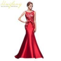 Red Lace Mermaid Evening Dress Long Sleeveless Lace Up Back Floor Length Satin Formal Prom Gowns