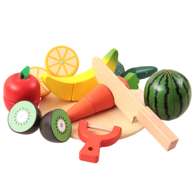10 unids/set cocina de madera niños toys toys pretend educativo colorido corte toys for kids bebé cut fruit vegetable cocina juguete
