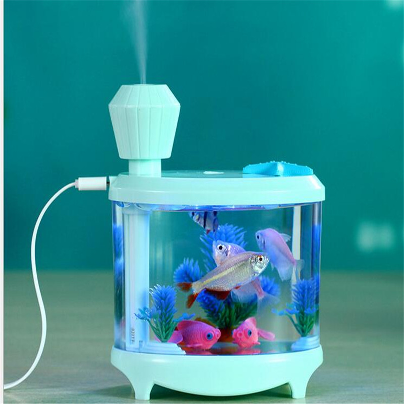 Hot Sale 2017 Aquarium Fish Tank Led  Blue white green pink USB LED Light humidifier  Cute Air Diffuser Atomizer for Home e4yk cute lifelike octopus style plastic aquarium fish tank decorator pink green 6 pcs