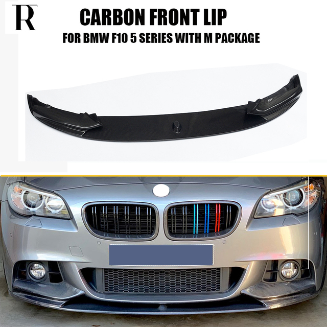 385d039fb57 F10 M Performance Style Carbon Fiber Front Bumer Lip Spoiler for BMW F10  520i 528i 530i