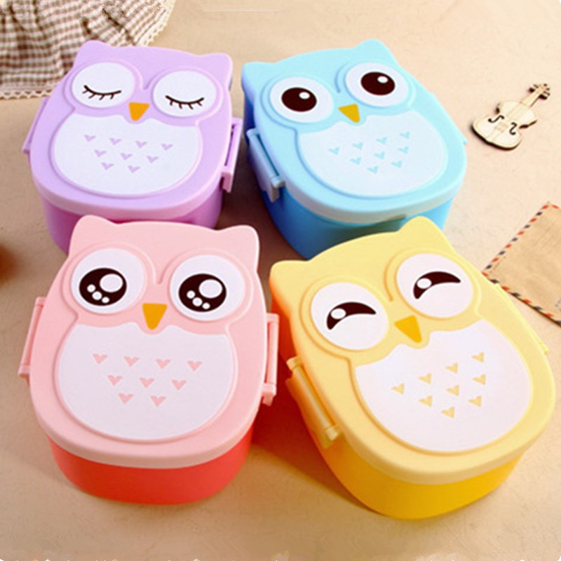 Kids Baby Lunch Box Cute Cartoon Owl Lunch Box Food Container Storage Box Portable Bento Box Container With Compartments Case