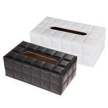 Tissue Box Cover Durable Startseite Auto Schreibtisch Rechteck Pu-leder Tissue Box Cover Serviette Papier Halter Schwarz/Weiß