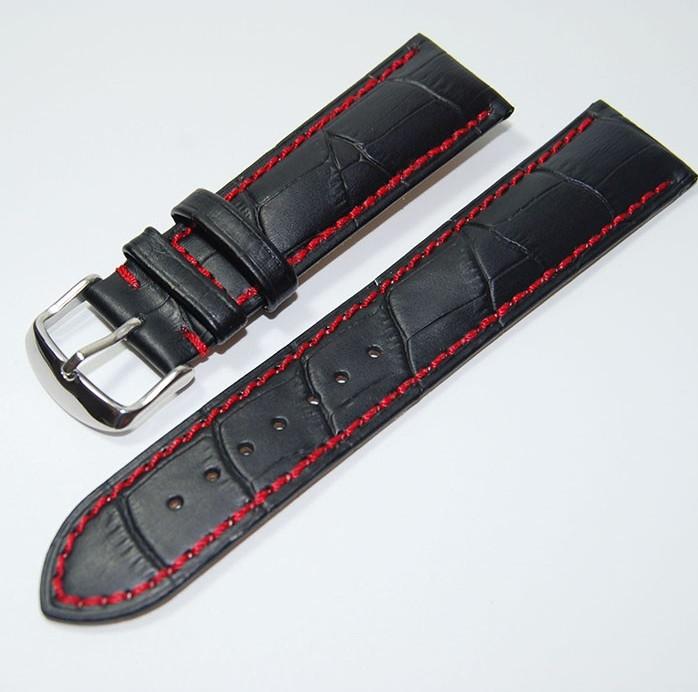 Prix pour 18mm 20mm 22mm Nouveau Noir Véritable Bracelet En Cuir Montre de Courroie De Bande Bracelet Avec fil Rouge
