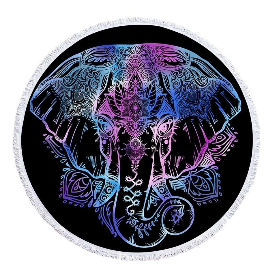 45760bacddfd4 BeddingOutlet Bohemian Elephant Round Beach Towel Boho Indian Tassel  Tapestry Floral Yoga Mat Lotus Flower Toalla