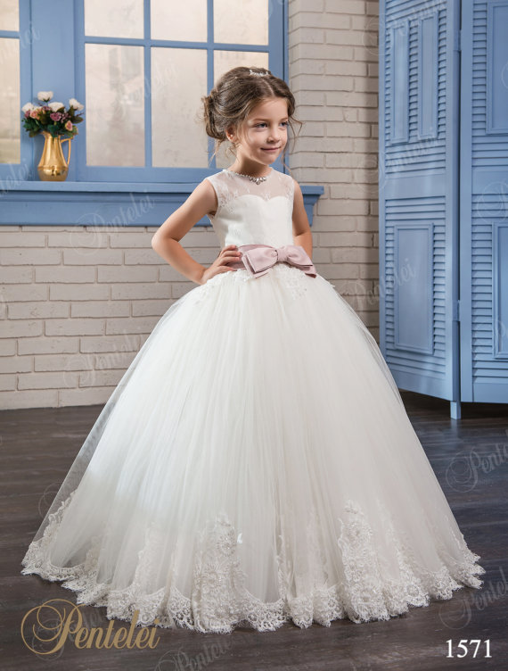 Ball Gown Flower Girls Dresses For Wedding Gown Tulle Girl Birthday Party Dress Lace Mother Daughter Dresses Swimsuit Family flower girl dress with flowers girls tulle dresses birthday party wedding ceremonious kid girl clothes gown for kids