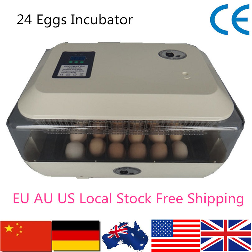 High Quality Model JN24 Automatic Egg Incubator Capacity 24 Poultry Eggs Hatcher Gift Flashlight