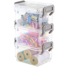 Multi-layer Transparent Plastic Box Desktop Storage Jewelry Drawer Organizer Sewing Kit