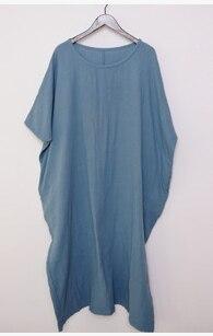 Новое поступление женские свободные длинное обтягивающее платье льняные платья 19003 - Цвет: Синий