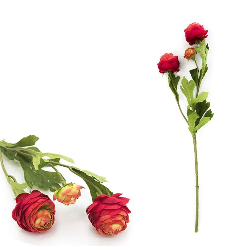 1 шт. 3 головки Искусственные цветы Ranunculus Asiaticus цветок Шелковый цветок для домашней вечеринки Весенние Свадебные Декоративные искусственные...