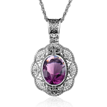 100% Handmade Charm Real 925 Sterling Silver Oval Cut Purple Rhinestone Crystal Pendants For Women Jewelry Making Vintage Style