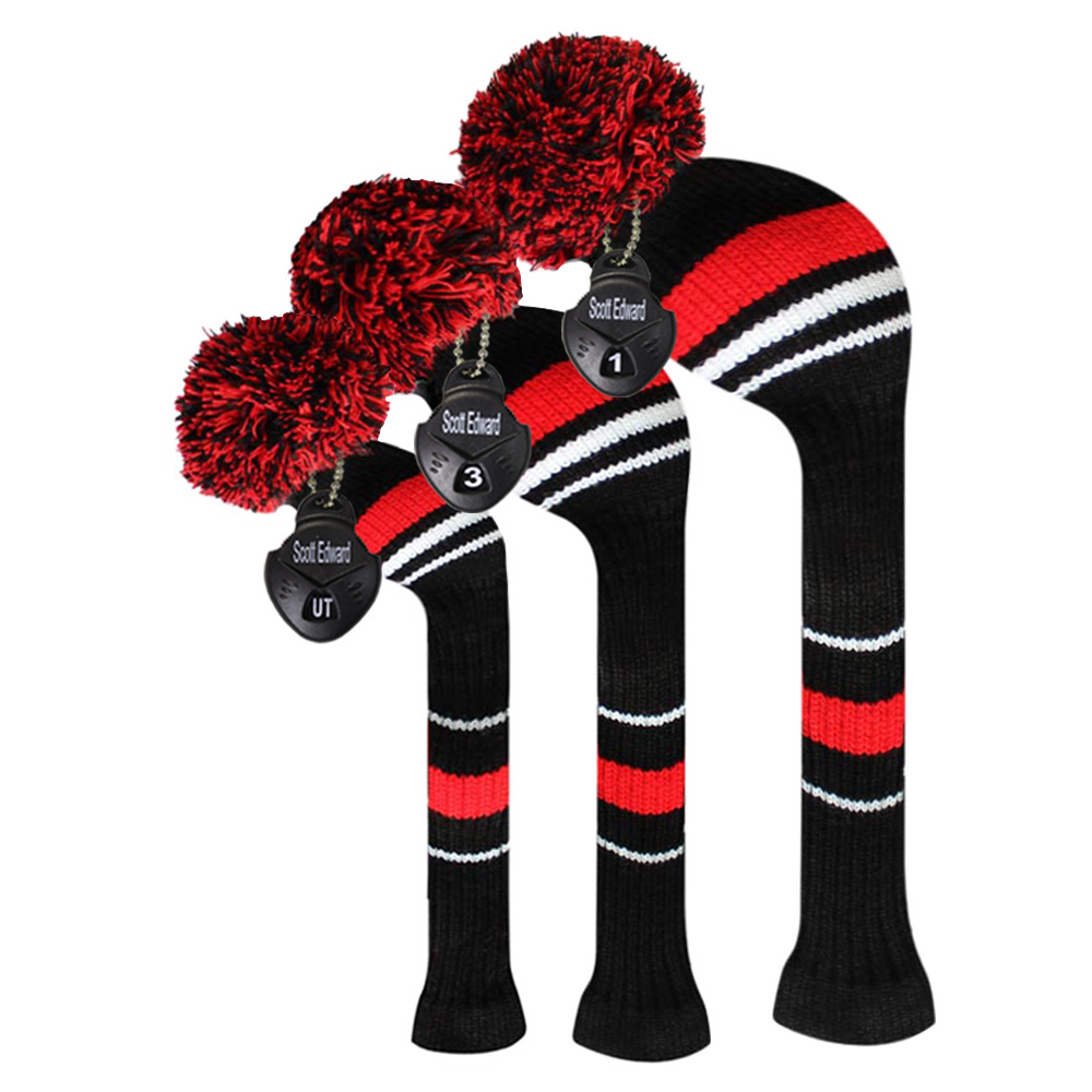 Black/red/white Warning Color Style Golf Pom Headcover, Set Of 3, For Wood Clubs, Father's Gift, Men's Gift