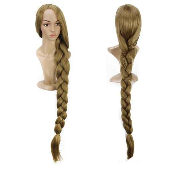 "Tangled Rapunzel 110cm 43.34"" Long Straight Braid Cosplay Wigs for Women Girls Princess Anime Disney Costume Party Wig Blond 2"