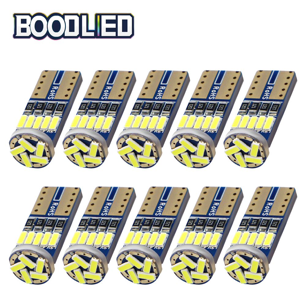 <font><b>10pcs</b></font> <font><b>T10</b></font> W5W 194 LED <font><b>Canbus</b></font> Bulbs 4014 SMD 15 LED Bulbs White Error Free Car Auto Wedge Interior Light Dome Map Trunk Lamp 12V image